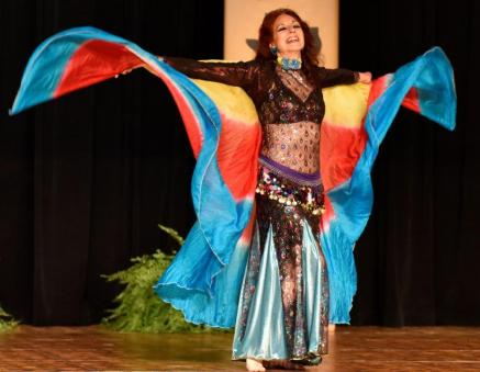 Belly dancer and instructor Dhyanis dances at 2015 Yaa Halla Y'All, an annual festival in Texas.