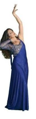 Blue bellydance performance dress by Dhyanis