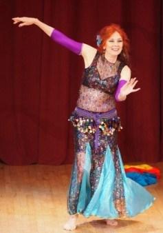 Custom bellydance performance dress in black and blue